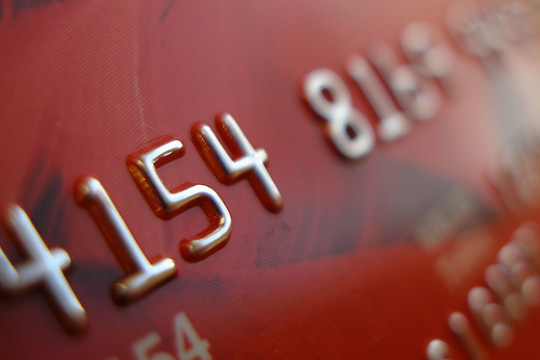 Close-up of a red credit card