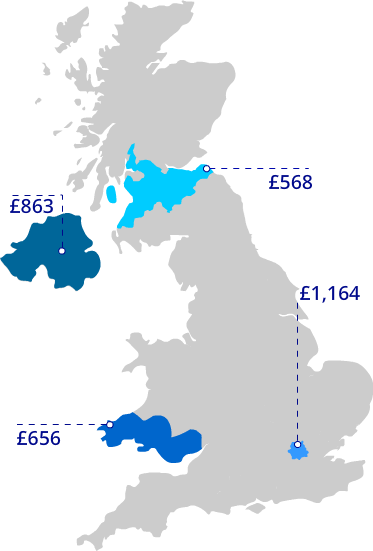 map of regional insurance prices
