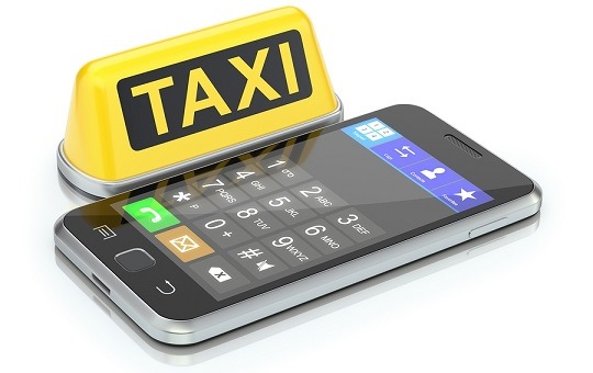 Taxi sign and mobile phone