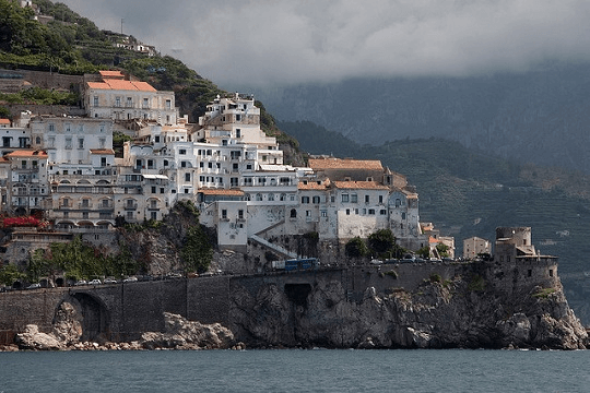 Houses on cliff in Italy