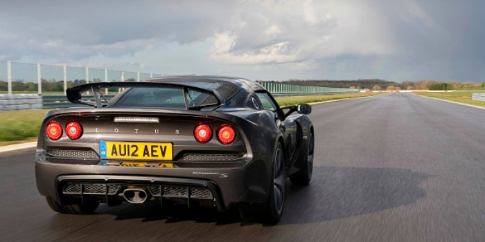 The back of a Lotus Exige on a race track