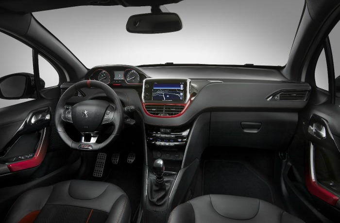 The interior of a new Peugeot 208 gti