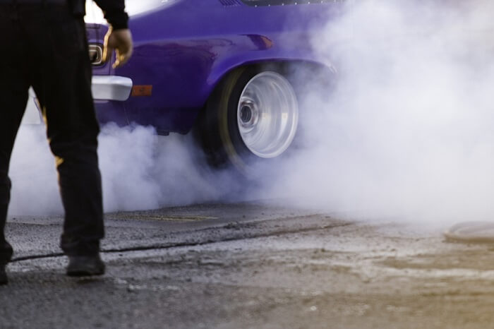 Car tyre smoke