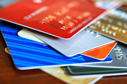 Piles of credit cards