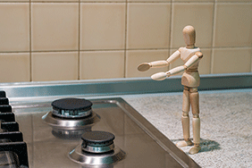 gas hob with wooden man