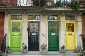 Four colourful doors