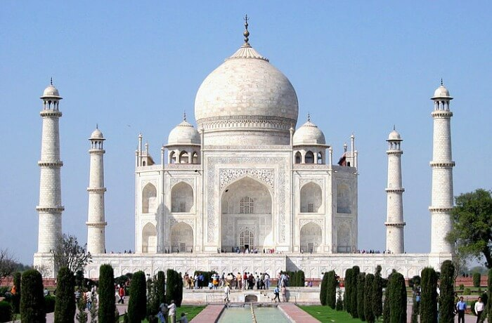 The Taj Mahal with a blue sky
