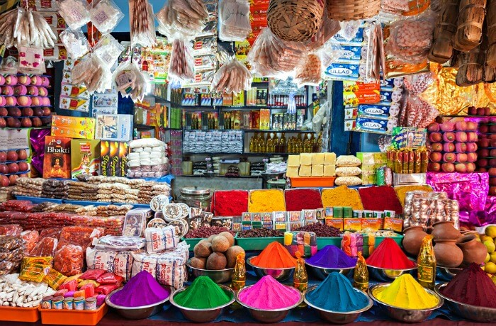 Colourful spices on an Indian street market