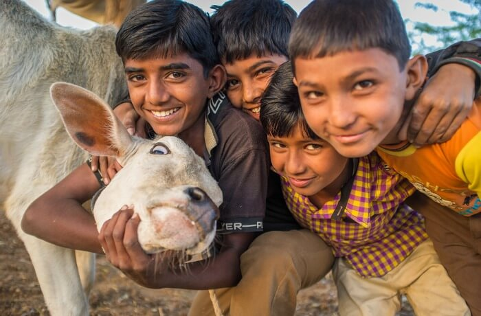 A group of Indian kids with a goat