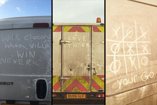 Three dirty vans with graffiti