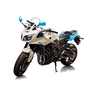 A white and blue 600cc motorbike