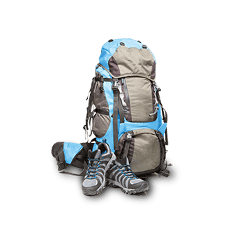 A backpack and walking boots