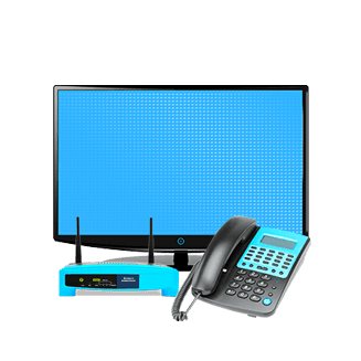 A flat screen TV, a broadband router and a landline telephone