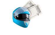 Blue motorbike helmet with two tickets