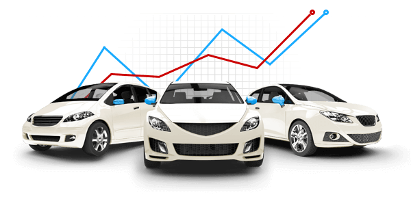 Three white cars with red and blue graph lines